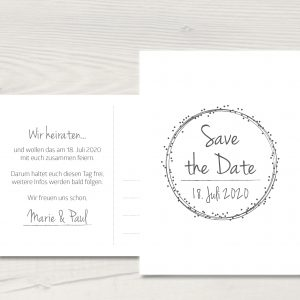 """Save the Date-Karte """"Dots""""_weiß"""