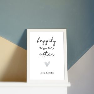 "Individualisiertes Poster zur Hochzeit - ""happily ever after"""